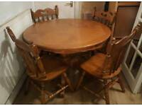 Solid oak table &4 chairs