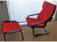 Ikea Poang Armchair + Footstool (red, excellent conditions)