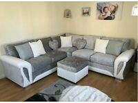 BRAND NEW SHANNON WHITE AND SILVER CORNER OR 3+2 SEATER SOFA SET AVAILABLE IN STOCK ORDER NOW