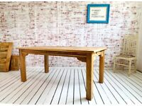 Modern Rustic Farmhouse Dining Table - Square Leg Extendable Choice of Finish Contemporary