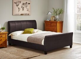 New Brown Faux Leather Sleigh Super King Size - 6FT Bed Frame (Free Local Delivery)