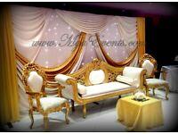 Throne Chair Hire £199 Gold Sweetheart Throne rental £249 Wedding Chaise Hire Sofa Reception Nikkah