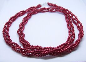 """Firebrick Red Platted Necklace 89 cm 35"""" Long"""