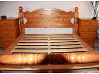 "Queen size (5' x 6'6"") solid pine bed. Built in headboard."
