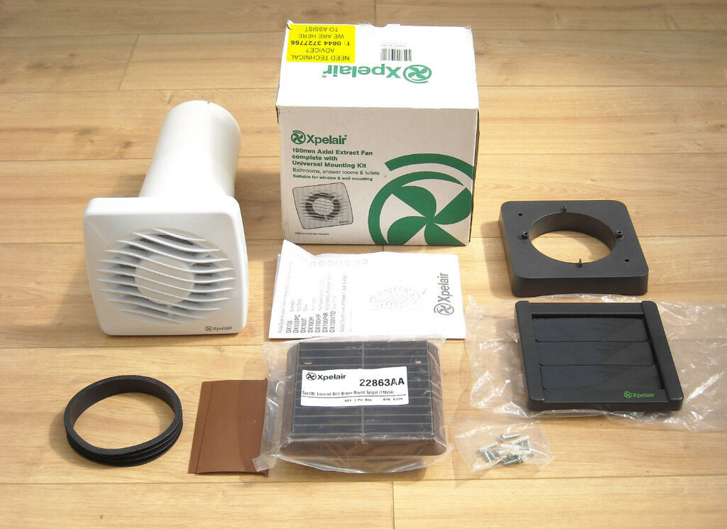"""Xpelair Dx100 4/"""" Bathroom Extractor Fan With Window Or Wall Kit Standard 100Mm"""