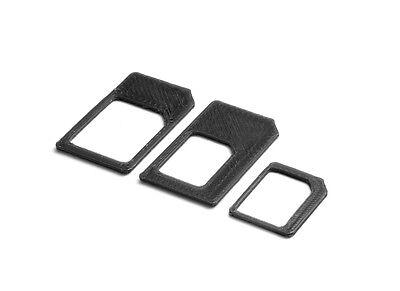 Nano Micro Sim Adapter 4 in 1 Set Nanosim Microsim Kartenadapter Schwarz