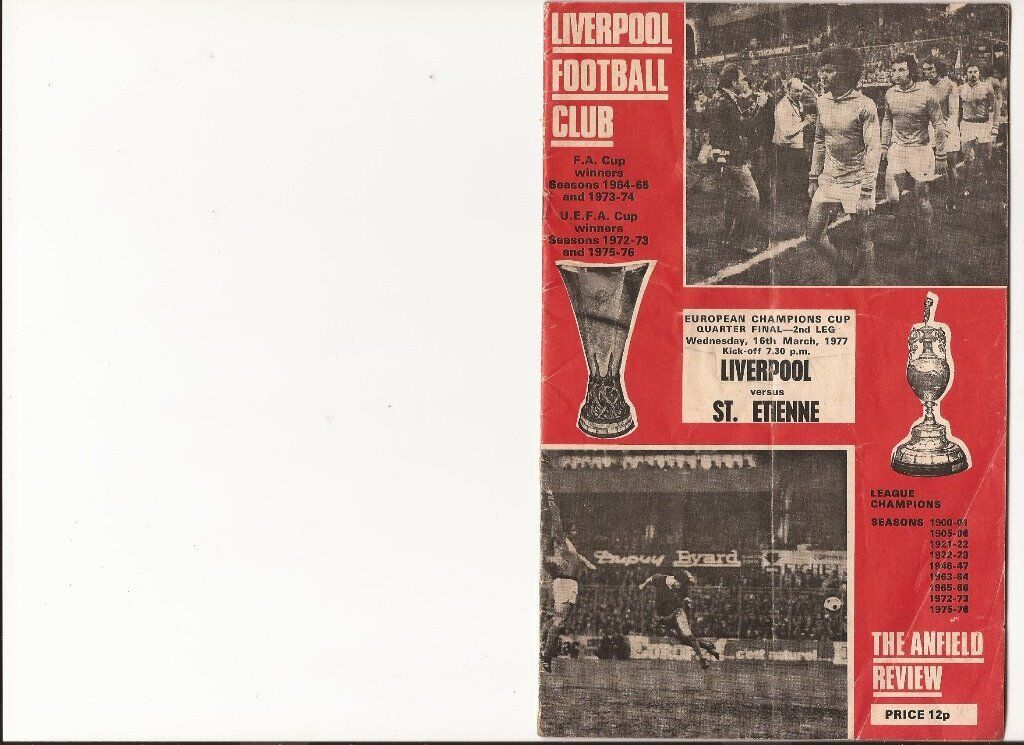 LIVERPOOL F.C. PROGRAMMES 1977 ONWARDS ALL GOOD CODITION