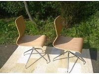 Two Ex-display John Lewis Oak and Chrome Swivel Chairs.