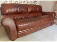 Furniture Village Ostuni two large 2 seater Brown Leather Sofas and Footsool