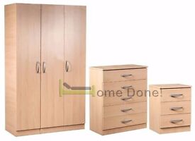 **7-DAY MONEY BACK GUARANTEE!**- Ready Assembled Wardrobe Set with Chest of Drawers and Bedside