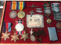 WW1 & WW2 MEDALS FROST FAMILY. SOUVENIR BANKNOTE, TRENCH ART LIGHTER ETC.