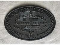 Antique brass manufacturers plaque