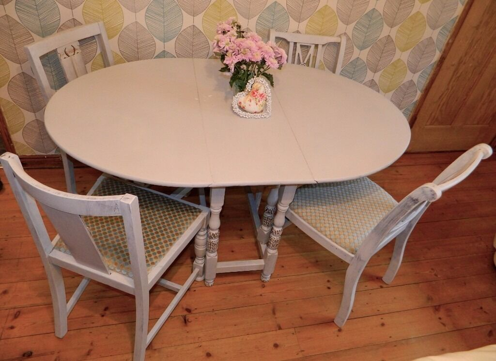 Shabby Chic Dining Table And 4 Chairs Drop Leaf Space Saving