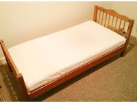 Toddler bed wooden with superior sprung mattress, good condition, bedding inc if wanted too