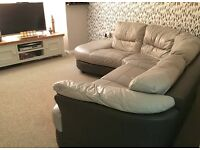 Grey genuine leather, large corner sofa from DFS