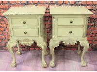 Pair of Ornate Barker and Stonehouse Shabby Chic French Style Bedside Drawers made from solid wood.
