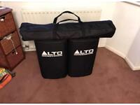 Alto TS212 PA speaker system, stands, cables, cases. AMAZING DEAL.