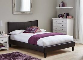 BUY IT NOW, PAY ON DELIVERY !! LEATHER BED-DOUBLE SIZE FRAME -BLACK-BROWN- WITH MATTRESS