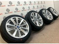 "GENUINE BMW 1/2/3 SERIES 17"" ALLOY WHEELS & NEW TYRES - 5 x 120 -GLOSS SILVER - 339"