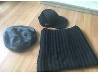 Black cap, grey cap and a black snood scarf Good condition