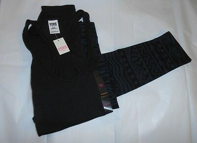 Victoria's Secret Pink Aztec Design Fashion Leggings + Racerback Tank Top S NWT
