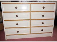 CHEST OF DRAWERS, WHITE, 8 DRAWERS