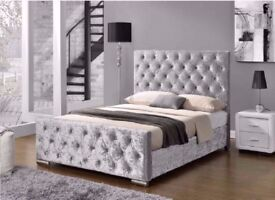 Single Double King Size Bed Frame   Black Gold Silver Crushed Velvet & Grey Fabric