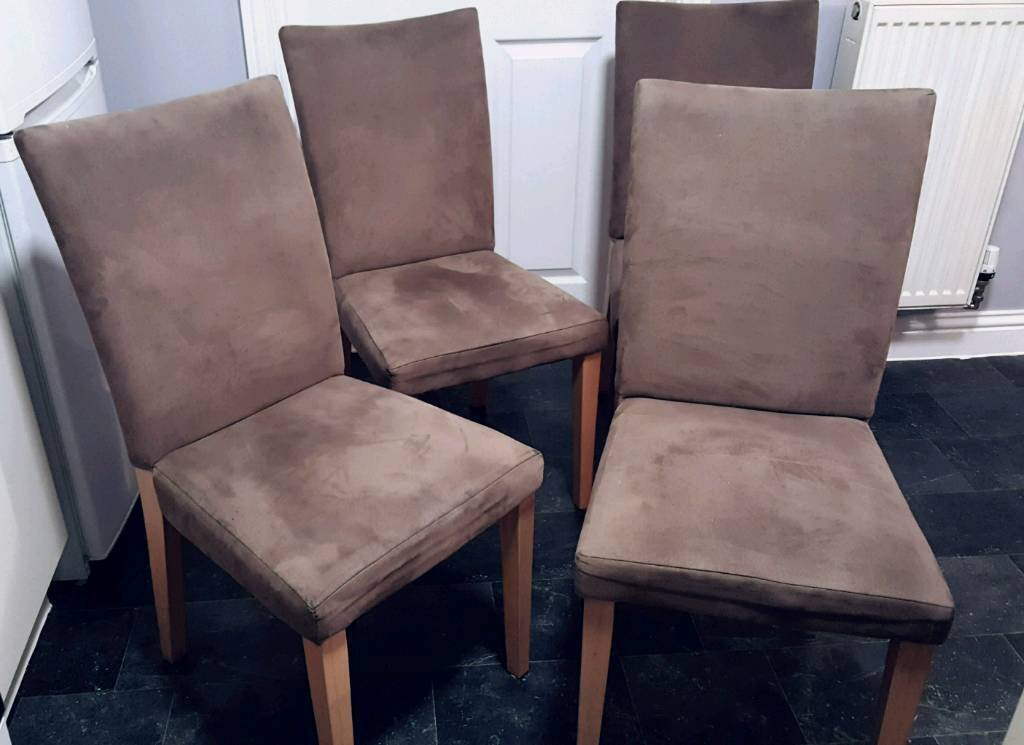 4 x dining chairs. Wipe clean suede effect fabric. Taupe.