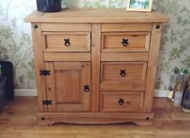 Chunky solid wood 4 drawer side unit