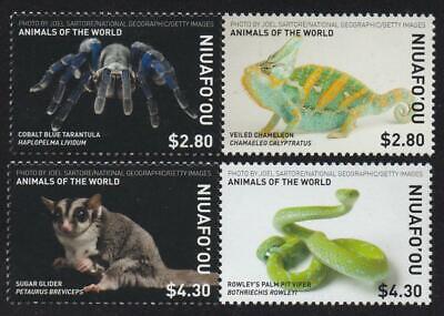 # 376 Niuafo'ou (2019) Animals of the World - Tarantula, Chameleon, Glider, Viper