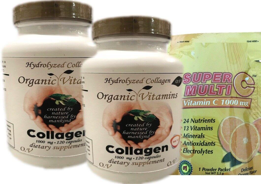 Hydrolized Collagen Vitamin C 240 CAPS hidrolizado,colageina10,colageno Organic