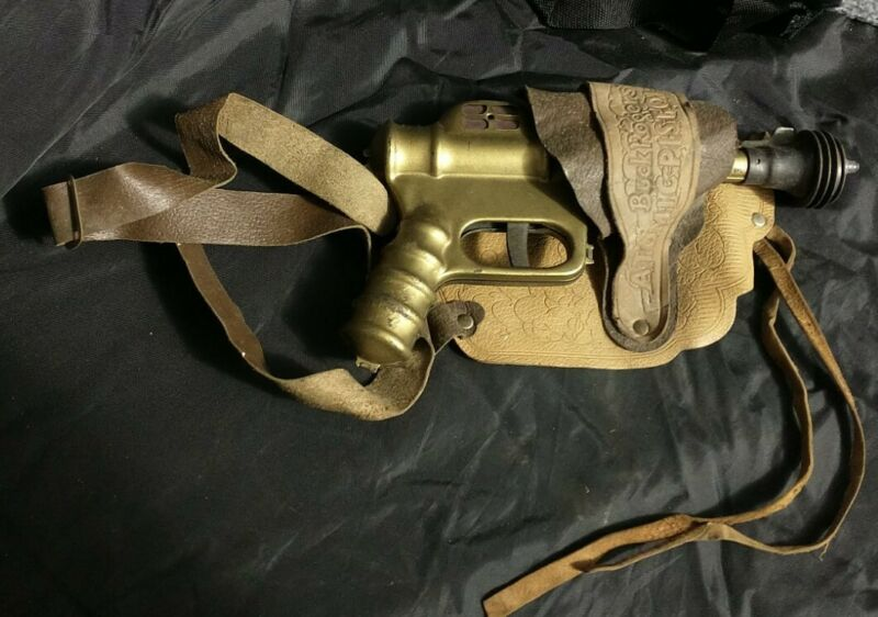 Buck Rogers Ray Gun Atomic Pistol W/ Leather Holster 25th Century Trademark