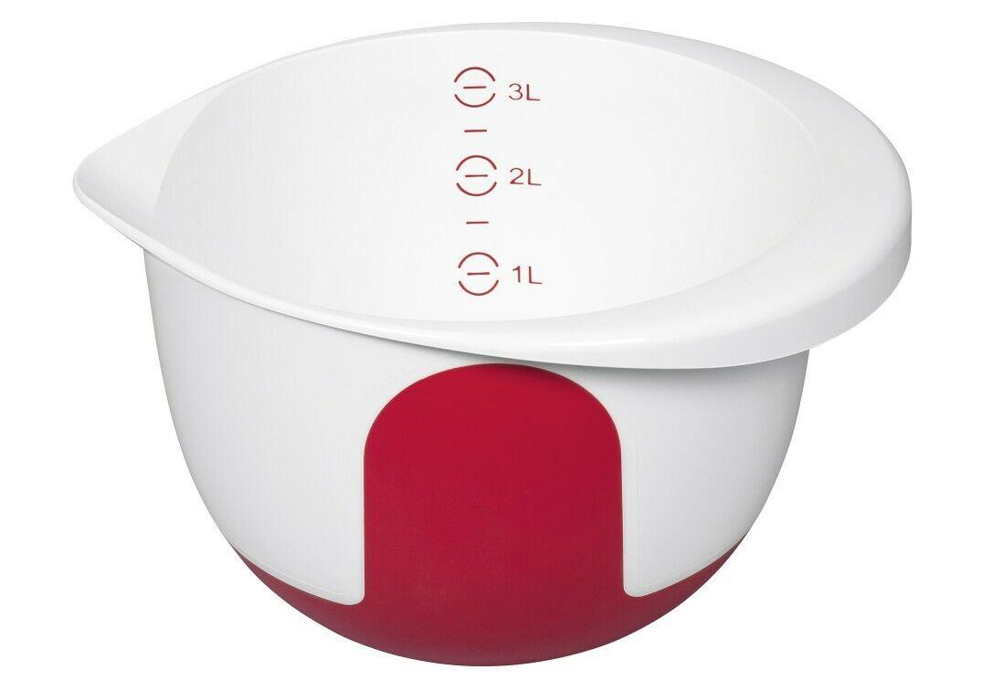 Rührschüssel Mix & Bake 3l mit Deckel weiß/rot (508019)