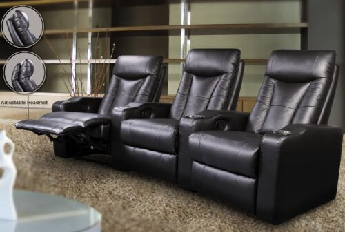 3 Piece Reclining Home Theater Seating Black Adjustable Headrests Living Room