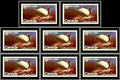 8x CANADA 1980 ENDANGERED WILD LIFE FISH MINT FV FACE $1.36 MNH RARE STAMP LOT