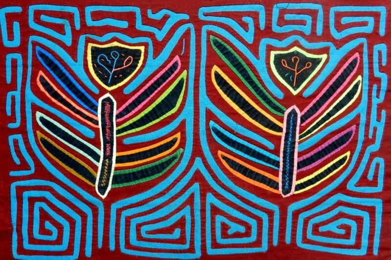 Kuna Indian Hand-Stitch Two Dancing Fireflies Mola-Panama 21060615L