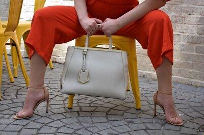 Very Rare FENDI 2Jours Vitello White Saffiano Leather Tote