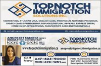 FOR ALL YOUR IMMIGRATION NEEDS CALL 6478239000