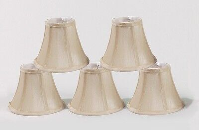 Urbanest Cream Chandelier Lamp Shades Set of 5, Softback Bell 3x6x5 Clip on
