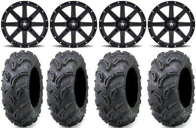 "MSA Black Clutch 14"" UTV Wheels 28"" Zilla Tires Polaris RZR Turbo S / RS1"