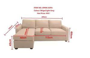 Brand New Fabric Sofa with chaise/ottoman Beige/Grey colour Clayton South Kingston Area Preview