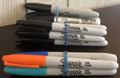Used Sharpie Permanent Markers Lot Of 14 - Black Blue Orange Teal - King Size