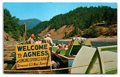1950s/60s Welcome to Agness and Singing Springs Ranch, OR Postcard