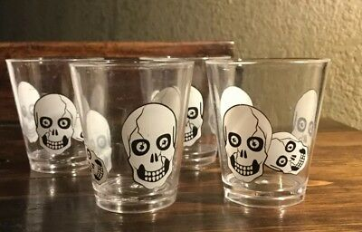Skeleton SKULL SHOT GLASSES Drink Bar Halloween Prop Decorations-4pc SET - Halloween Shot Drinks