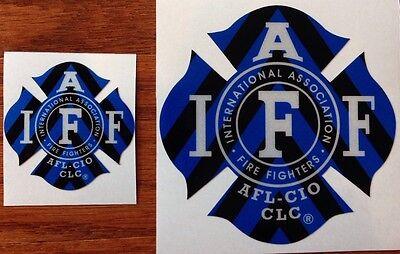 "ONE BLUE/BLACK IAFF Firefighter Union Chevron Reflective 3M Sticker Decal 4"""