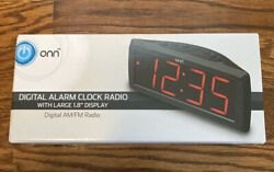 New ONN AM/FM Digital Alarm Clock Radio Large 1.8 Display Battery Back Up M24A