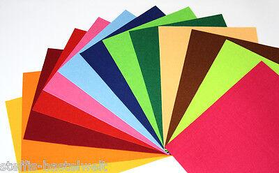 12 Filzplatten Filz Mix 25x15cm 1mm dick 6 Farben Bastelfilz Set ca. 100gr.