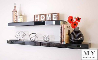 Black glass mirror high gloss floating shelf shelves wall storage display 120cm
