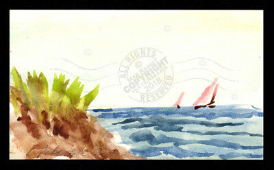 Sailboats at Sea VENTURA 2012 Orig Watercolor Painting SIGNED impressionist ART