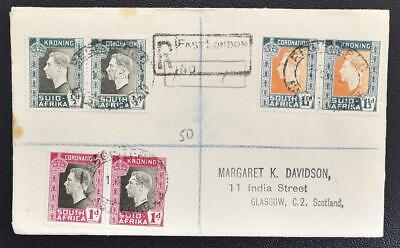 South AFRICA to SCOTLAND 1937 Coronation Language Pairs on Reg Cover/FDC to LOOK